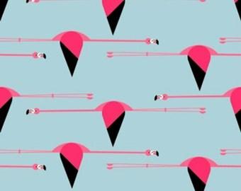 Birch Fabrics - Maritime Collection - Flamingos in Blue Organic