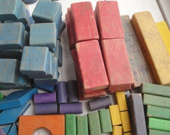 Vintage Colorful Wood Blocks 146 Pieces
