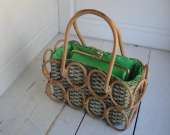 Vintage Purse Green Wood Woven Stylecraft Miami