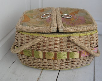 Vintage 1960s Sewing Basket Woven Bright Flowers Japan