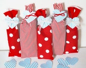 Valentine Party Favors, 10 Party Favor Goody Bags, Mini Candy Bags, Red Polka Dot Bag, Heart Tag, Treat Bags, Valentine's Day Teacher Gifts