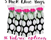 5 Wine Bags, Party Decor, Wine Party Favors, Wine Sack, Wine Sacks, Wine Bag, Wine Bags, Goodie Bags, Hostess Gift, Bridal Party