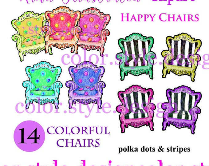 Watercolor Clipart, Hand Illustrated Clipart, Fancy Chairs Clipart, Watercolor Chair Clipart, Digital Clipart, Living Room Chair, Furniture