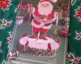 Vtg Hallmark Paper Merry Santa Holly Cardinal Honeycomb Centerpiece