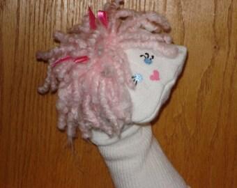Girlie Pink acrylic yarn hair Sock puppet
