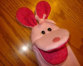 Light Pink Bunny Rabbit Fleece fabric Hand Puppet