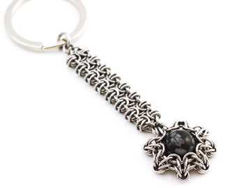 Stainless Steel Keychain - Byzantine Gridlock and Celtic Eclipse