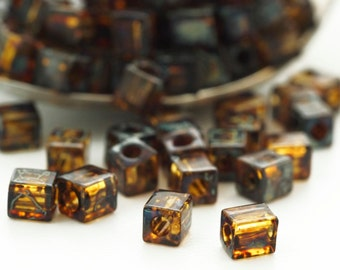 50 Transparent Dark Topaz Picasso Miyuki 4mm Cube Seed Beads - 100% Guarantee