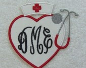 Heart Stethoscope with Nurse Hat Classic Triple Monogram Embroidered Iron On Applique Patch MADE TO ORDER