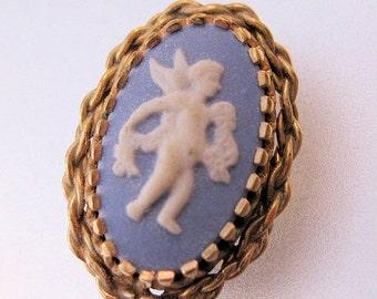 15% OFF SALE Vintage WEDGWOOD Blue Jasperware Cupid Brooch 14k Gf Jewelry Jewellery