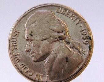 HALLOWEEN SALE 1959 Genuine Nickel 5 Cent Ring Adjustable Unisex Vintage Jewelry Jewellery