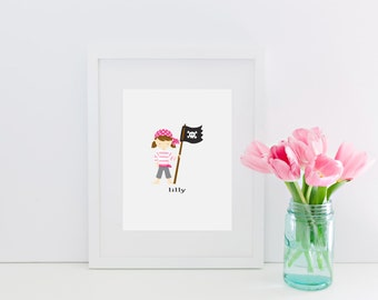 personalized pirate girl print