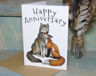 Wolf & Fox Couple Illustration 'Happy Anniversary' Greeting Card - 280gsm White Card 177 x 127mm Blank Inside with Brown Recycled Envelope
