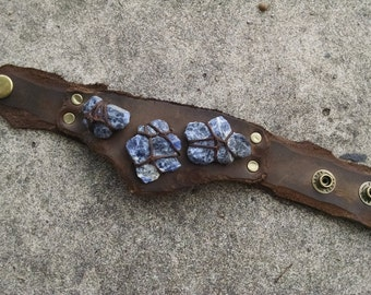 Cerulean Stones Leather Cuff -- wasteland weekend burning man tribal fusion larp barbarian apocalyptic apocalypse steampunk dieselpunk