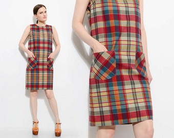 Vintage 60s Tartan Plaid Cotton Sleeveless Mod Preppy Jumper 1960s Knee Length Dress Small S