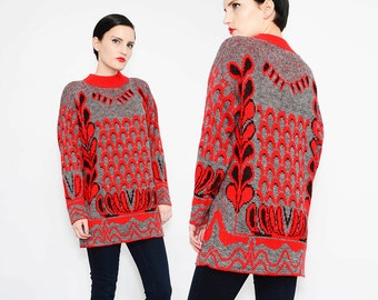 80s FOLK ART Graphic Sweater Slouchy Knit Top Abstract 1980s Oversize Jumper Gray Red S - M