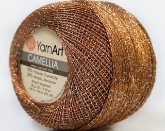 Brown Silver Metallic Braid Thread Cross Stitch 20 gram 207 yards YarnArt Camellia C22 34766 Fine Metallic Embellishment Thread ScrapBooking