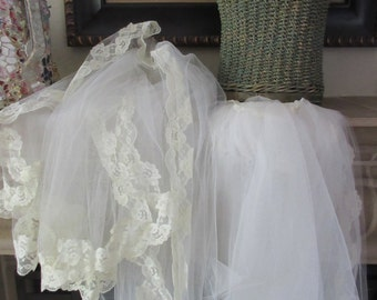 Wedding Veil, White with Ivory Lace, 10 ft. Train