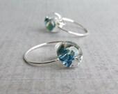 Mottled Blue Earrings, Small Hoop Earrings, Blue Lampwork Earrings, Sterling Silver Handmade Hoops