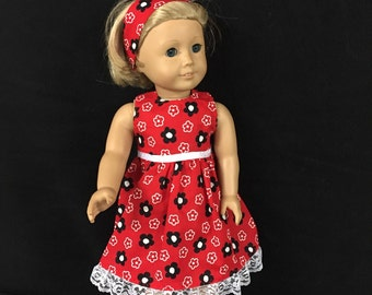 Doll Clothes for American Girl Dolls or Most Other 18 Inch Dolls Lady In Red Dress with Black and White Flowers
