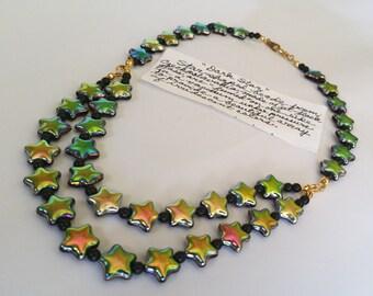 Iridescent Colour Shifting Bohemian Glass Star Necklace Dark Star