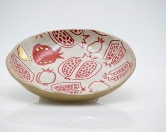 Ceramic plate - pomegranate print - jewelry bowl -  salad plate - decorative plate - housewarming gift