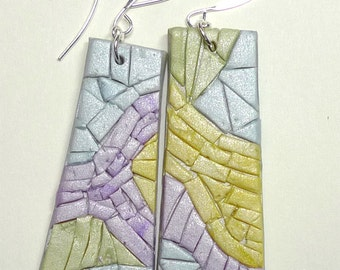 Polymer Clay Mosaic Earrings, Pearl. Primavera Series.