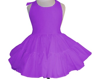 Solid Purple Twirly Halter Dress Sundress with full ruffled skirt Infant Baby Toddler Girl Square Dance Dress Many colors available!