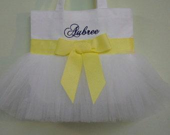 Embroidered Dance Tutu Bag, tutu tote bag, White Tote bag, dance bags, Tutu Tote Bag, tutu ballet bag, tutu dance bag TB140 - BP