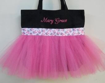 Dance bag, tutu tote bag, ballet bag, Embroidered dance bag, hot pink tote bag, dance bags, Embroidered Tote bag, Tutu Tote Bag TB704 BP
