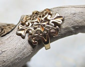 Gold Plated Filligree Ring, Womens Statement Jewelry, Size 9.25