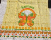 Unused Vintage Cannon Hand Towel Butterfly Happiness