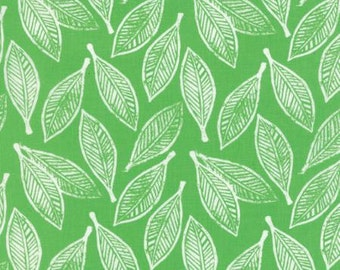 Sale!..Leaves ... 1 yard 13 inches end of bolt remnant Kate Spain  Horizon..by Moda Fabrics.. Green colorway