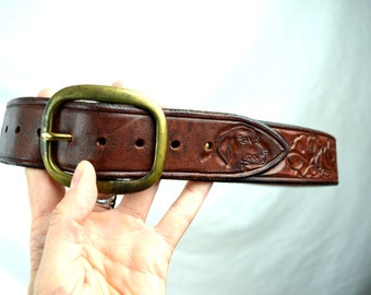 Vintage Tooled Leather Belt - Solid Brass Buckle - Size 34