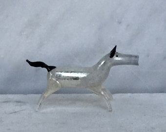 Ice Dog Antique Mercury Glass Christmas Ornament