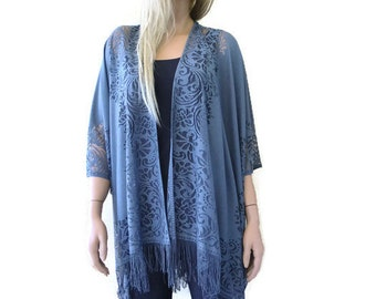 Gray Lace Kimono- Bohemian Lace Kimono -Fringe kimono cardigan-Oversize kimono