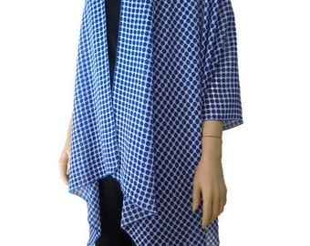 Kimono/ Kimono cardigan-Blue white polka dots - summer collection- Layering piece-Last One