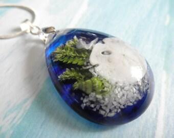 Deep Blue Ocean-Tropical-Sand Dollar & Dove,Sea Shells,Beach Sand,Ferns Glass Teardrop Pendant-Ltd Edition-Sense of Tranquility,Serenity