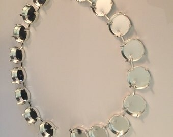 18mm Bright Silver Necklace Empty Cup Chain for rivolis and Cabs