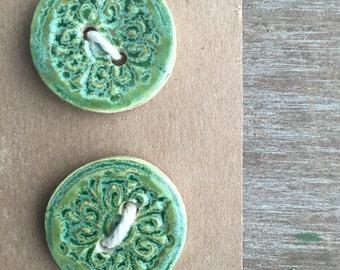 Ceramic Buttons - Antique Green