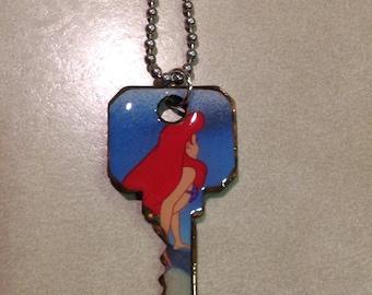 Disney's Little Mermaid Ariel Altered Art Key Necklace