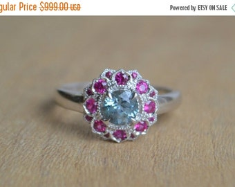 SALE Larger Round Camellia Ring with Montana Sapphire and African Ruby in 14 Kt White Gold