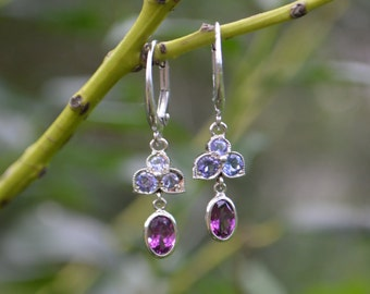 Purple Garnet Dangly Earrings, gemstone dangly earrings, petal earrings, oval white gold earrings, white gold dangly earrings, gifts for mom