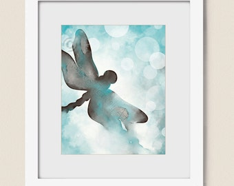 Blue and Brown Wall Art for House, Turquoise Blue Dragonfly Wall Decor for Bedroom, Dragonfly Wall Art, Watercolor Art for Living Room (426)