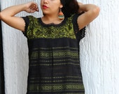Small/Medium  Lime Green and Black Two Birds de Paz hand woven and hand embroidered blouse