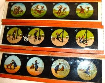 Three Magic Lantern Slides. 4 Panel Visual Jokes. Antique German Magic Lantern Slides. Very Old Glass Slides.