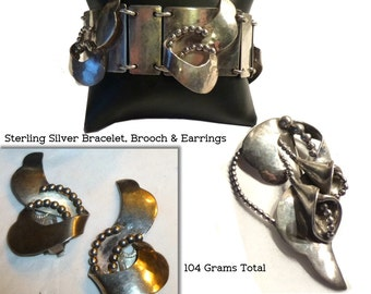 Over 100 Grams Sterling Silver Hand Crafted Brooch, Ear Clips, Bracelet. Modernist Lily. 1940s. Vintage Silver Handwrought Parure