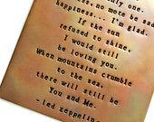 Copper Wall Plaque - 6X4 inch -  Can Be Customized - Led Zeppelin - Hand Stamped and Fired - Wall Art - Thank You Lyrics - Personalize this!