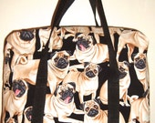 Pug Purse  Tote Bag Market Bag in Black