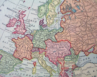 Vintage paper map of Europe.  Africa on back.  Published 1915.  Original small  paper map,  pastel colors for framing decoupage travel art.